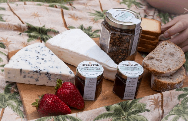 FlourChild Jams and Granola on cheeseboard